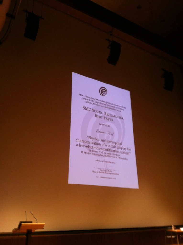 SMC Best Young Researcher Paper 2014