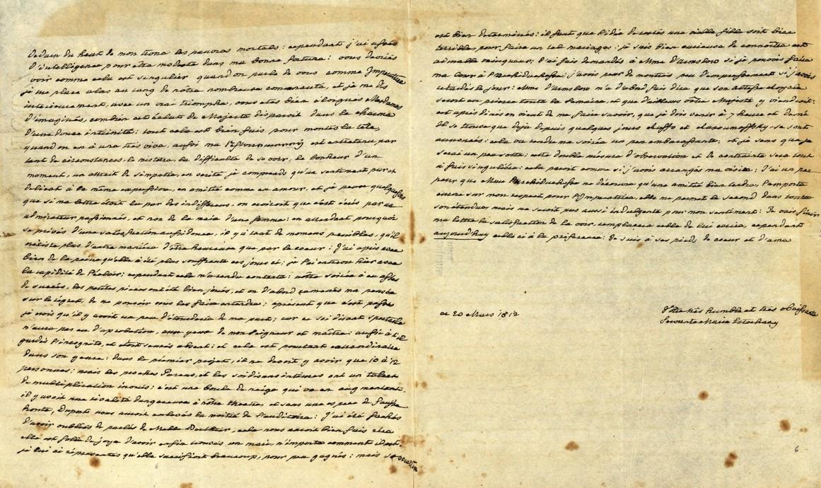 Princess Marie Esterházy's letter to Empress Maria Ludovica Beatrix